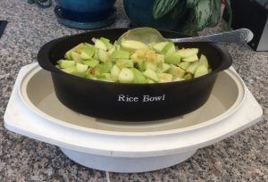 Electric Steamer with Rice basket, chopped apples