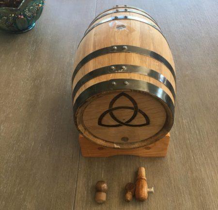 3 litre oak barrel with triquetra logo