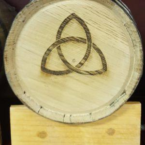 Charred Oak Keg, No Spigot, Triquetra
